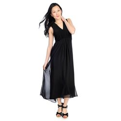 Kate & Mallory High Low Maxi Dress With Woven Overlay & V-neckline Black Medium