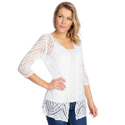 One World Open Front Pointelle Cardigan White Large