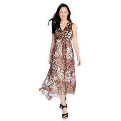 Kate & Mallory High Low Maxi Dress With Woven Overlay & V-neckline Animal 1x