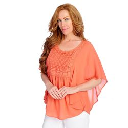 One World Lace Crochet Circle Top Orange Small