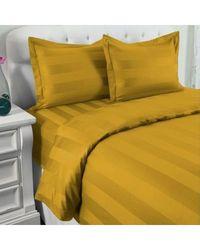 North Shore Linens 500tc 100% Cotton Damask Suresoft 3 Piece Duvet Set Gold Full/queen