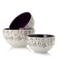Cook's Companion 3pc Ceramic Mixing Bowl Set Purple No Size