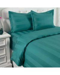 North Shore Linens 500tc 100% Cotton Damask Suresoft 3 Piece Duvet Set Teal Full/queen