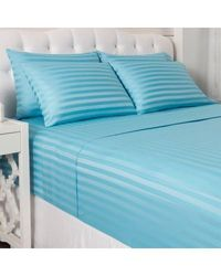 "North Shore Living 600tc Cotton/poly Blend 1"" Damask Stripe 6 Piece Sheet Set Blue King"