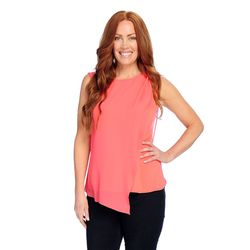 Kate & Mallory Sleeveless Knit Tank With Drape Asym Woven Overlay Coral Xs