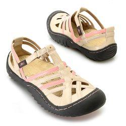 "Jbu By Jambu ""anza"" Memory Foam Color Blocked Comfort Sandal Cream 9"