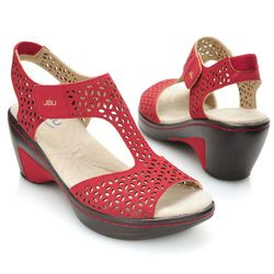 "Jbu By Jambu ""chloe"" Memory Foam Laser Cut Wedge Sandal Red 10"