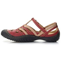 "Jbu By Jambu ""anza"" Memory Foam Color Blocked Comfort Sandal Red 10 Wide"