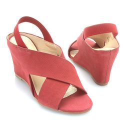 "Matisse ""harlow"" Perforated Nubuck Leather Crossover Strap Wedge Sandal Red 7.5"