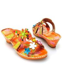 Corkys Elite Rosie Multi Flower Thong Sandals Orange 6