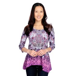 One World Lace Panel Sharkbite Tee Purple Multi 1x