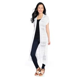 Kate & Mallory Short Sleeve Lightweight Open Front Duster White 3x