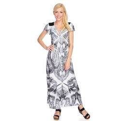 One World Microjersey Flutter Cap Sleeve Maxi Dress Black/white Medium