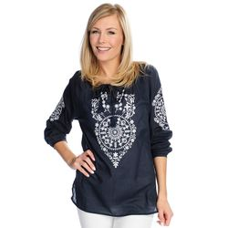 Kate & Mallory Women's Embroidered Top - Navy/white - Size: Large