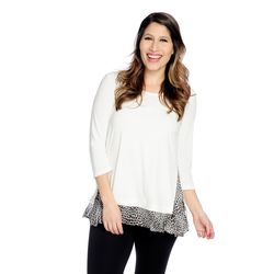 Kate & Mallory Side Zipper Woven Detail 3/4 Sleeve Top Ivory Leopard Large