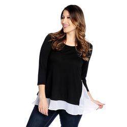 Kate & Mallory Side Zipper Woven Detail 3/4 Sleeve Top Black/white 2x