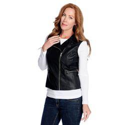 K&M Women's Faux Leather Zip-off Sleeve Moto Jacket - Black - Size: L