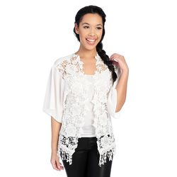 Kate & Mallory Women's Open Shrug with Lace - Ivory - Size: 1x