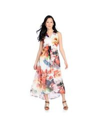 Kate & Mallory High Low Maxi Dress With Woven Overlay & V-neckline White Floral XL
