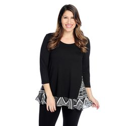 Kate & Mallory Side Zipper Woven Detail 3/4 Sleeve Top Black Chevron 2x