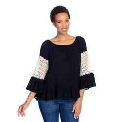 Kate & Mallory Long Slv Scoop Neck Top W/ Lace Crochet Sleeve Detail Hi Lo Hem Black/ivory Medium