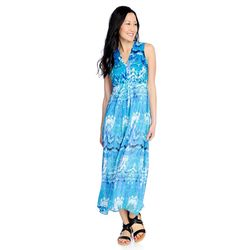 Kate & Mallory High Low Maxi Dress With Woven Overlay & V-neckline Blue Watercolor 2x