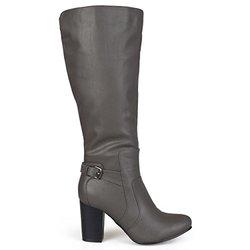 Journee Women's Wide-Calf Buckle Detail Boots - Grey - Size: 8.5M