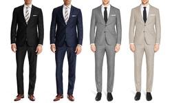 Eleganza Red Men's Slim-fit 2pc Sharkskin Suits-tan-40sx34w