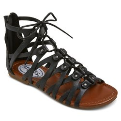 Stevies Girls' Trendy Ghillie Gladiator Sandal - Black - Size: 2