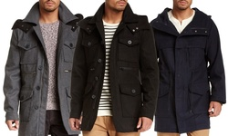 Men's Wool-Blend Military Coat with Quilted Bib - Grey - Size: Large