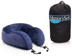 MemorySoft Luxury Travel Neck Pillow with Travel Bag