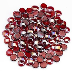 Midwest Hearth Fire Glass   10-Pound   Beautiful Reflective Fireglass and Beads for Natural or Propane Fire Pit, Fireplace, or Gas Log Sets   American Made in USA (1/2-Inch Gems, Ruby Gem)