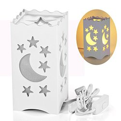 White Table Light with Moon and StarShaped Carving (DL209-WW)