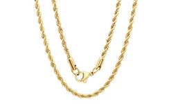 Men's 18kt Gold Plated Thick Rope Chain Necklace - 30""