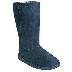 Women's 13 Inch Microfiber Boots: Navy - Size 10