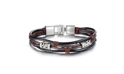 Men's Style Handmade Leather Silver Charm Bracelet - Brown/Black