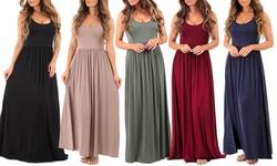 Women's Long Draped Dresses: Black/Large