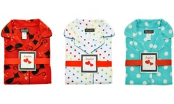 Girls Cozy Fleece Pajama Set: Aqua With White Dots/s