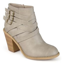 Journee Collection Women's Multi Strap Ankle Boots - Stone  8