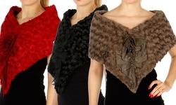 Faux Fur Rose Stole Wrap: Black