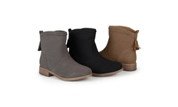 Journee Collection Women's Round Toe Tassled Boots - Grey - Size: 11