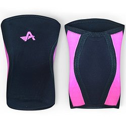 Athlos Fitness Knee Sleeves (Pair) Compression Sleeve Support for CrossFit, Weightlifting, and Powerlifting - 5MM Neoprene (Black/Pink, M)
