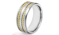 Sterling Silver Crucible Titanium Silver Rope Inlay Flat Ring - Size: 9