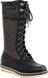 Women's CHARLIE Triple Textured Tall Laceup Boot - Black - Sz: 10