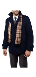 Braveman Men's Single Breasted Wool Blend Coat - Navy - Size: XL