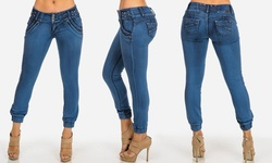 Women's Juniors Low-Rise Stretchy Ankle Jeans - Blue - Size: 5
