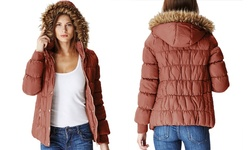 Glamsia Juniors' Puffer Jacket with Fur-Lined Hood - Tan -Size: XL