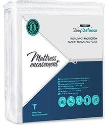 Sleep Defense Premium 100% Waterproof/Bed Bug Proof Noiseless Mattress Encasement, Fully Protect Your Mattress from Bed Bugs, Fluids, Mites and Allergens, Queen Standard