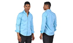 OTB Brand Men's Fitted Dress Shirt - Sky Blue - Size: XL