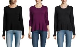 Christopher Fischer Cashmere Peplum Crewneck Sweater - Black - Size: M